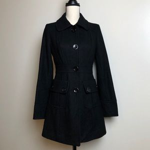 ANTHROPOLOGIE Tulle Black Trench Coat